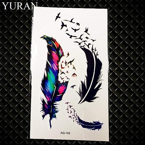 GHHCG Pequeño Pájaro Negro Golondrina Tatuaje Temporal Mujeres ...
