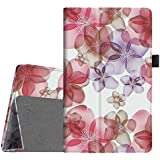 Fintie Folio Case for Amazon Fire HD 8 (Previous Generation - 6th) 2016 release - Slim Fit Premium Vegan Leather Standing Protective Cover With Auto Wake / Sleep, Floral Purple