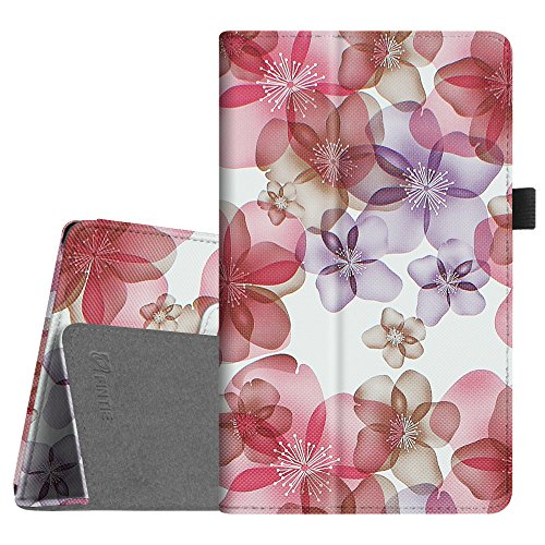 Fintie Folio Case for Amazon Fire HD 8 (Previous Generation - 6th) 2016 Release - Slim Fit Premium Vegan Leather Standing Protective Cover with Auto Wake/Sleep, Floral Purple
