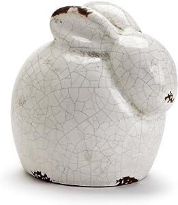 Abbott Collection Terracotta Crouching Rabbit Garden Statue, White (Small)