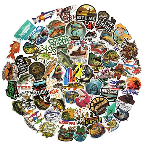 COOLCOOLDE Go Fishing Stickers Many Kinds of Fly Fish Stickers 60Pcs Variety Vinyl Car Sticker Water Bottle Skateboard Motorcycle Phone Bicycle Luggage Guitar Bike Sticker Decal (go Fishing)
