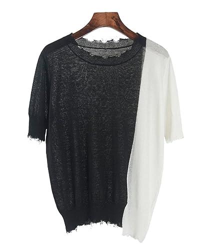 Lumeidon Mujer Moda Personalidad Diseño Camisas De Punto Ronda Cuello Sección Delgada Suelto Los Colores Mezclados Blusas