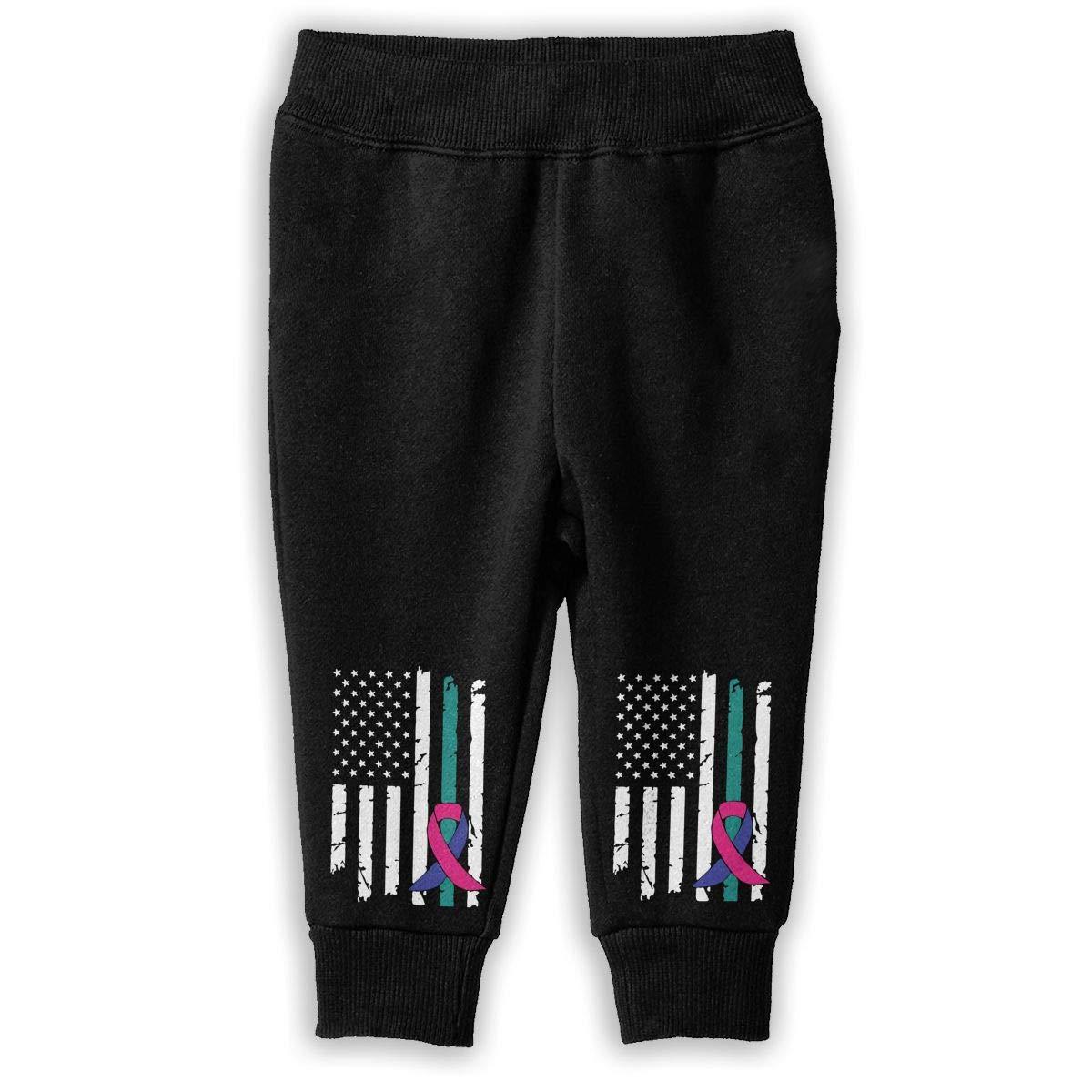 Childrens Sports Pants NJKM5MJ Thyroid Cancer Awareness USA Flag-1 Sweatpants