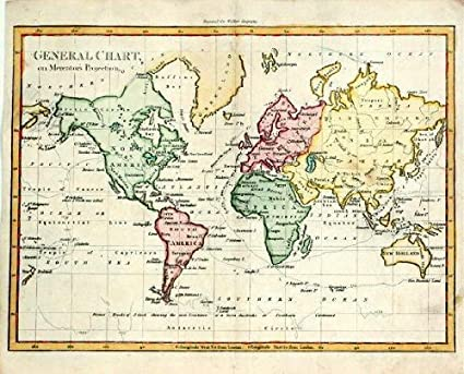 Amazon Com Antique World Map Mercator Projection 1802 Etchings