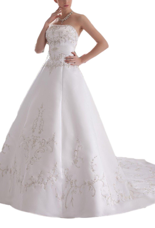 Albizia Women's Glorious A-line Strapless Chapel Appliques Wedding Dress