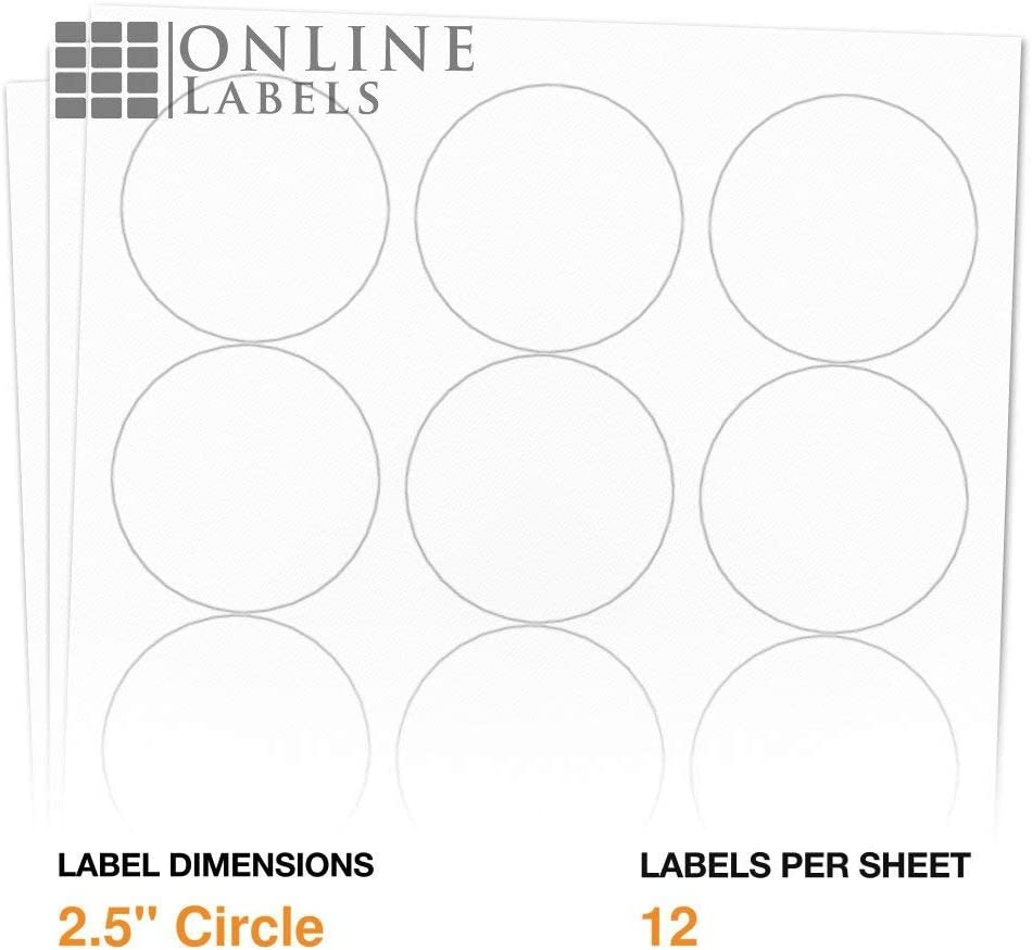 2.5 Inch Round Labels - Pack of 1, 200 Circle Stickers, 100 Sheets - Inkjet/Laser Printer - Online Labels : All Purpose Labels : Office Products