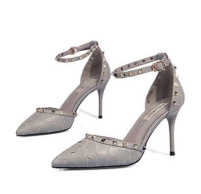95a84312b9a01d mogeek Spitze Damen Pumps Bequeme Nieten Stilettos Sandalen Sexy High Heels  (Grau