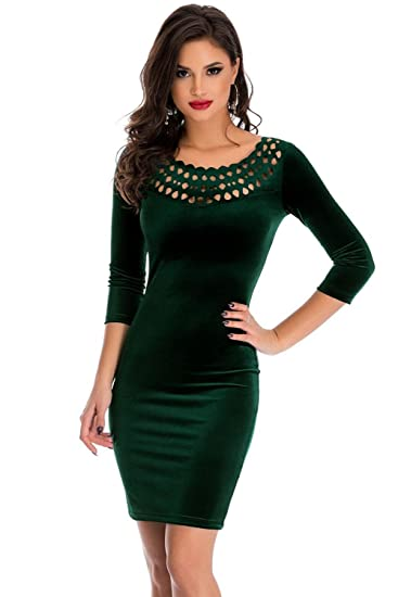 OUR WINGS Women Dark Green Hollow Out Round Neck Sleeved Velvet Dress S