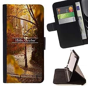 Momo Phone Case / Flip Funda de Cuero Case Cover - Ingresar Hojas de Otoño Otoño Naturaleza - HTC One A9
