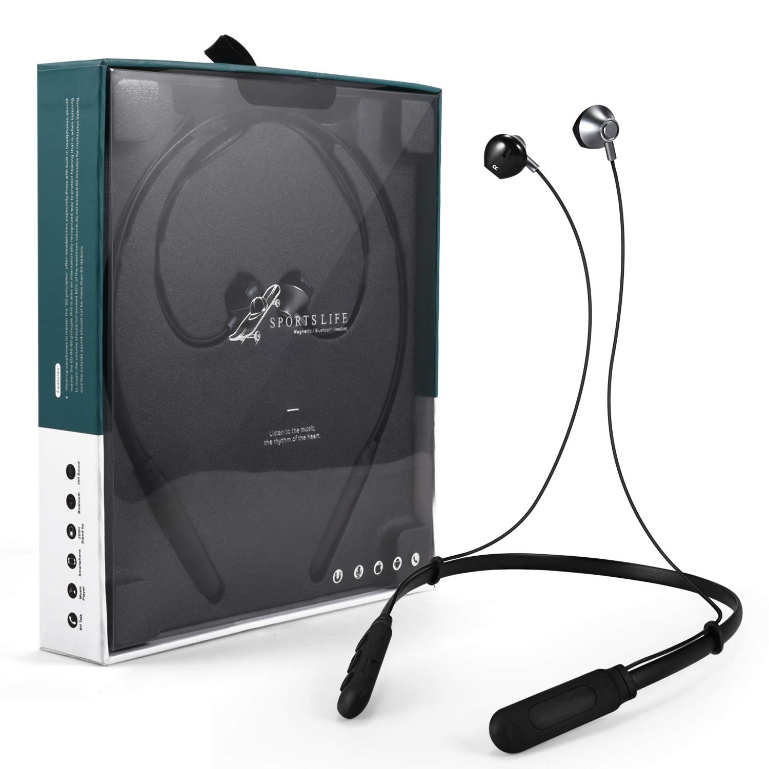 Bluetooth Headphone Wireless Neckband Headset- Lightweight Stereo Noise Cancelling Earbuds w/Mic Black