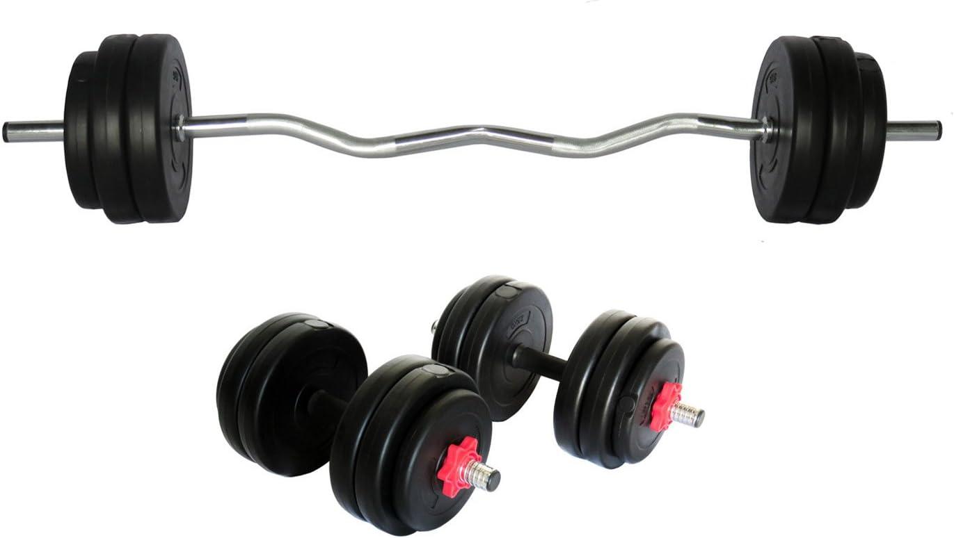 Uni Best & mancuernas de pesas Barra de curl con pesos 55 kg ...