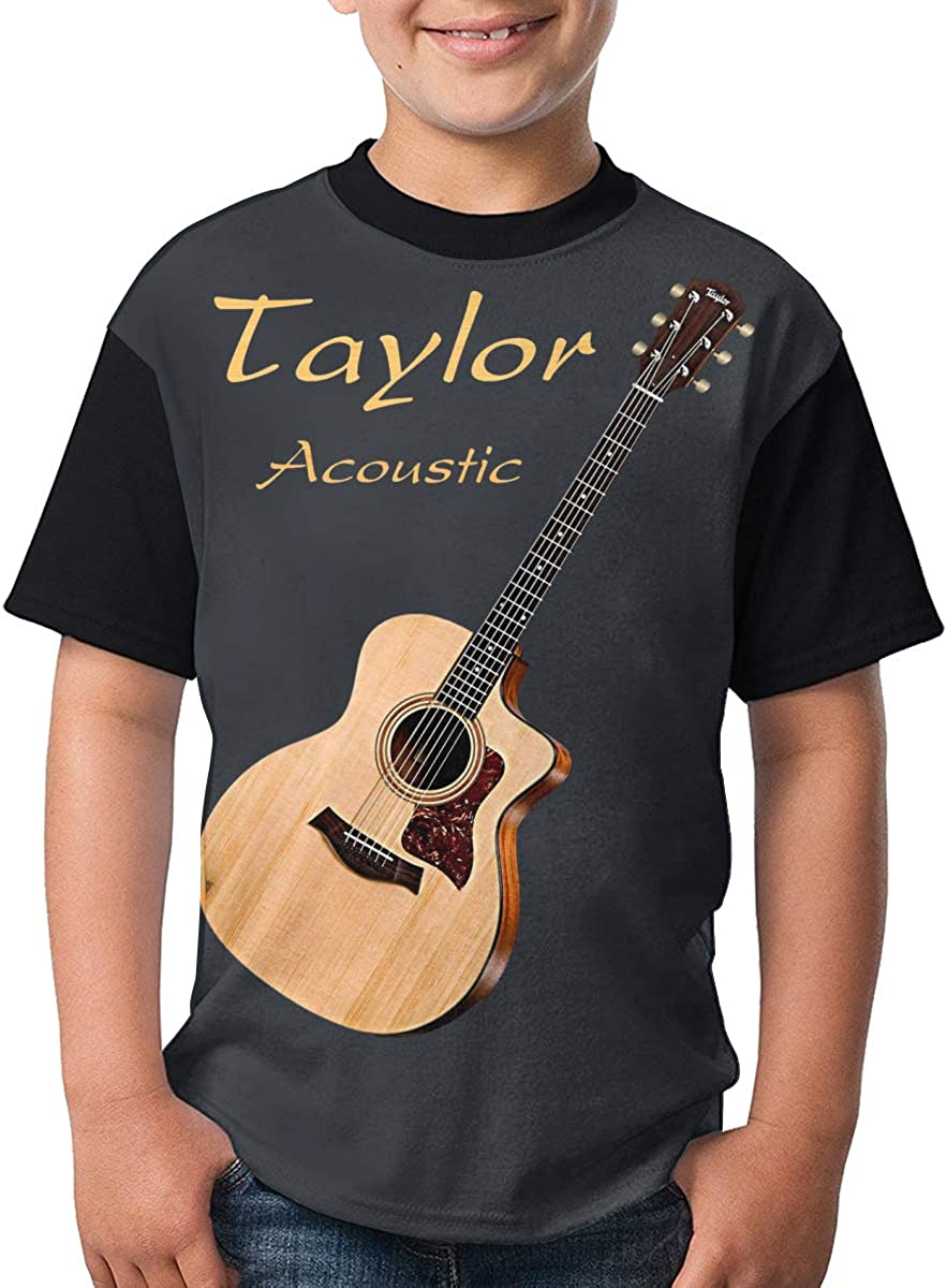 Mingtemei Taylor Acoustic Guitars Boys 3D Printing Round Neck T Shirt Lightweight Short Sleeve T-Shirts
