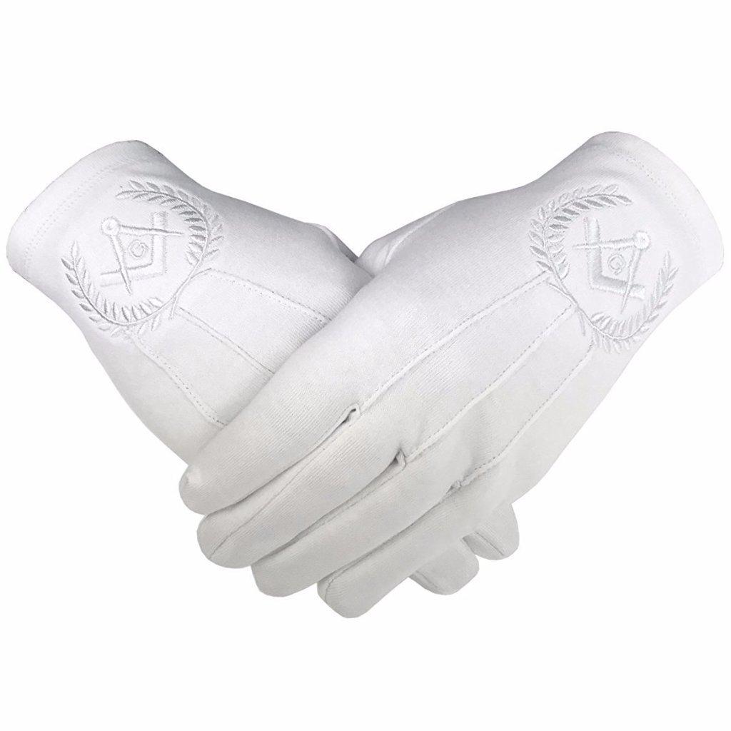 レンガMasons Masonic Regalia 100 %コットン手袋正方形コンパスとG – ホワイト XX-Large  B07CKK5Q4R