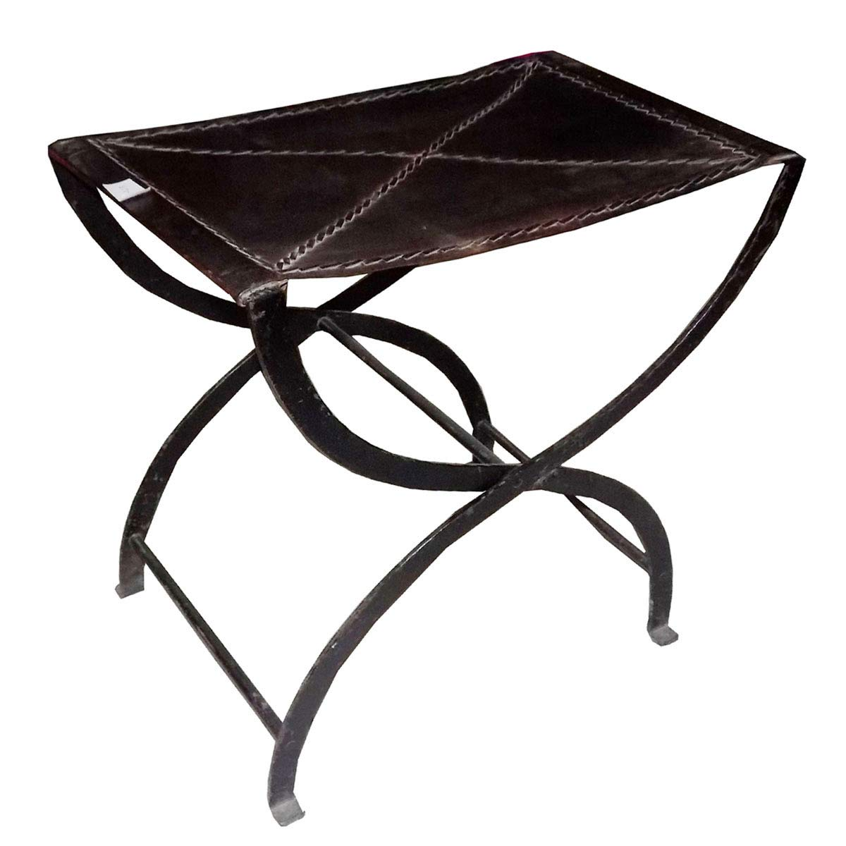 Superb Kushal Handicrafts Black Color Iron Leather Folding Stool Pabps2019 Chair Design Images Pabps2019Com