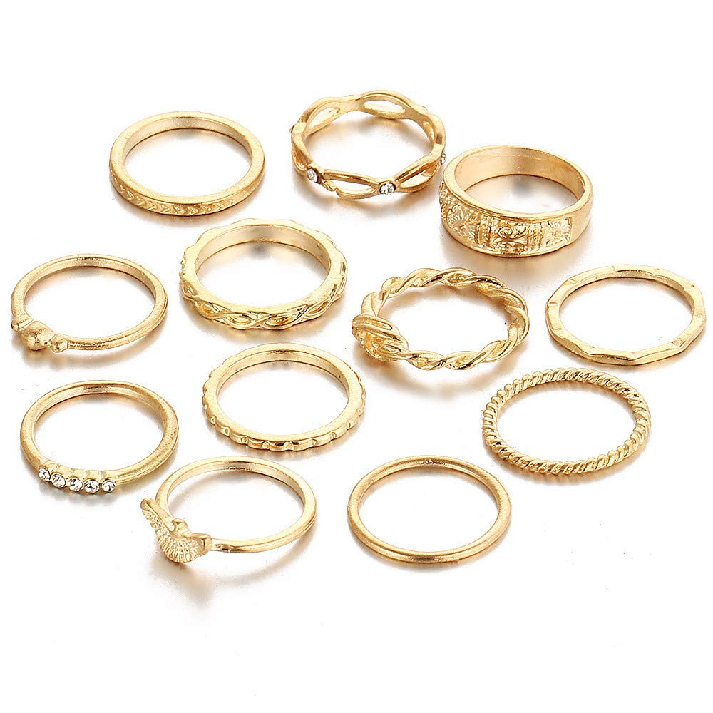 XBKPLO Rings for Women's 12pcs/Set Vintage Gold Bohemian Above Knuckle Wedding Jewelry Gift