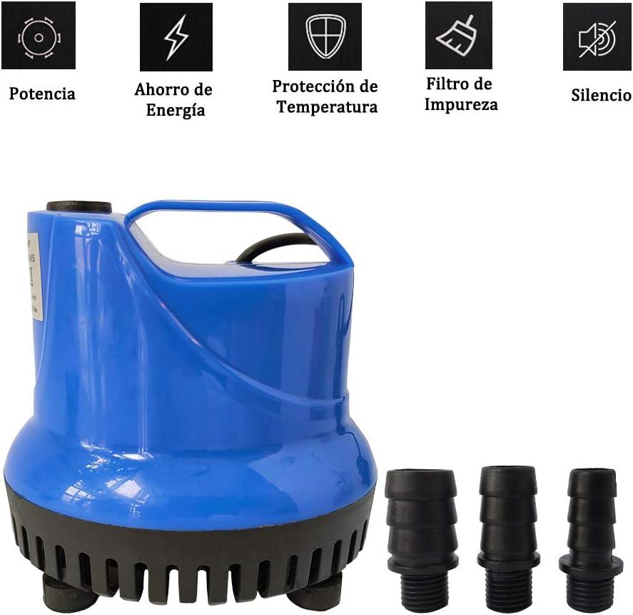Homvik Bomba de Agua Sumergible 1800L/H 25W con 3 Boquillas Bomba de Agua para Fuente Acuario Estanque Pecera Ultra Silencioso Circulación de Agua Dulce y Marino 2m de Altura - Azul