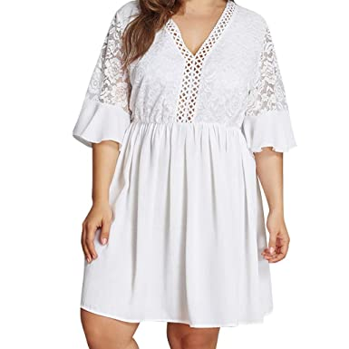 15c522ffc31 Qvwanle Ladies White Bohemian Casual Half Sleeve Lace Openwork V-Neck Large  Size Dress at Amazon Women s Clothing store