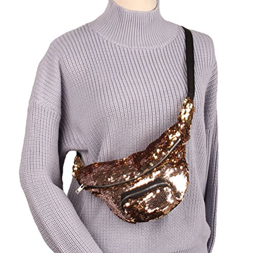 Tinksky Sequins Taille Tasche Kosmetik Makeup Fanny Pack Lässige Sport Taille Tasche Multifunktionale Taille Packs (Champagner Gold)