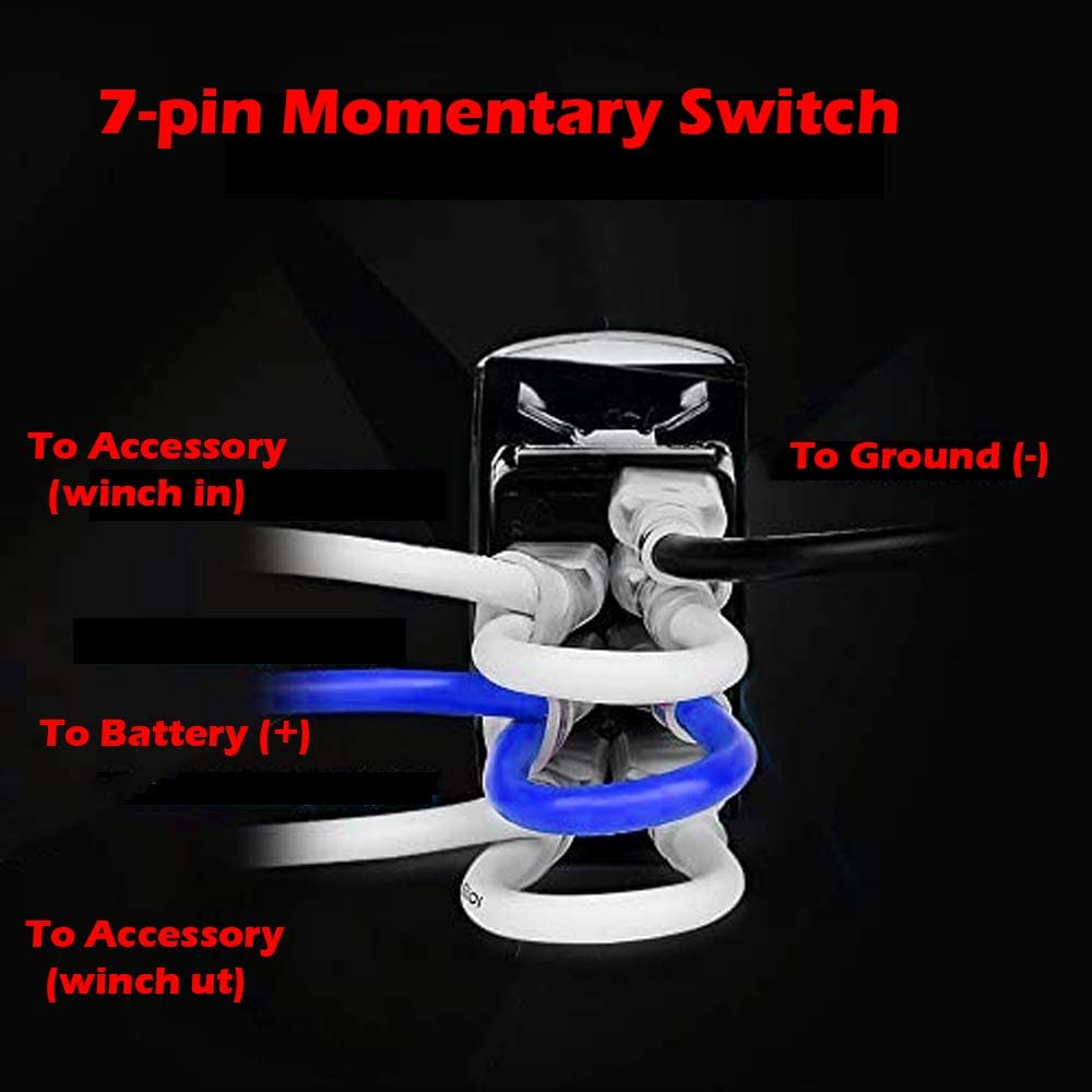 Amazon.com: WINCH IN WINCH OUT - Green - STARK 7-PIN Momentary Winch In Out Rocker  Toggle Switch Waterproof Black Shell/ON-OFF-ON DPDT illuminated Rocker  Switch For Auto Truck Boat Marine- DC 20A 12V/10A | Winch Rocker Switch Wiring Diagram |  | Amazon.com
