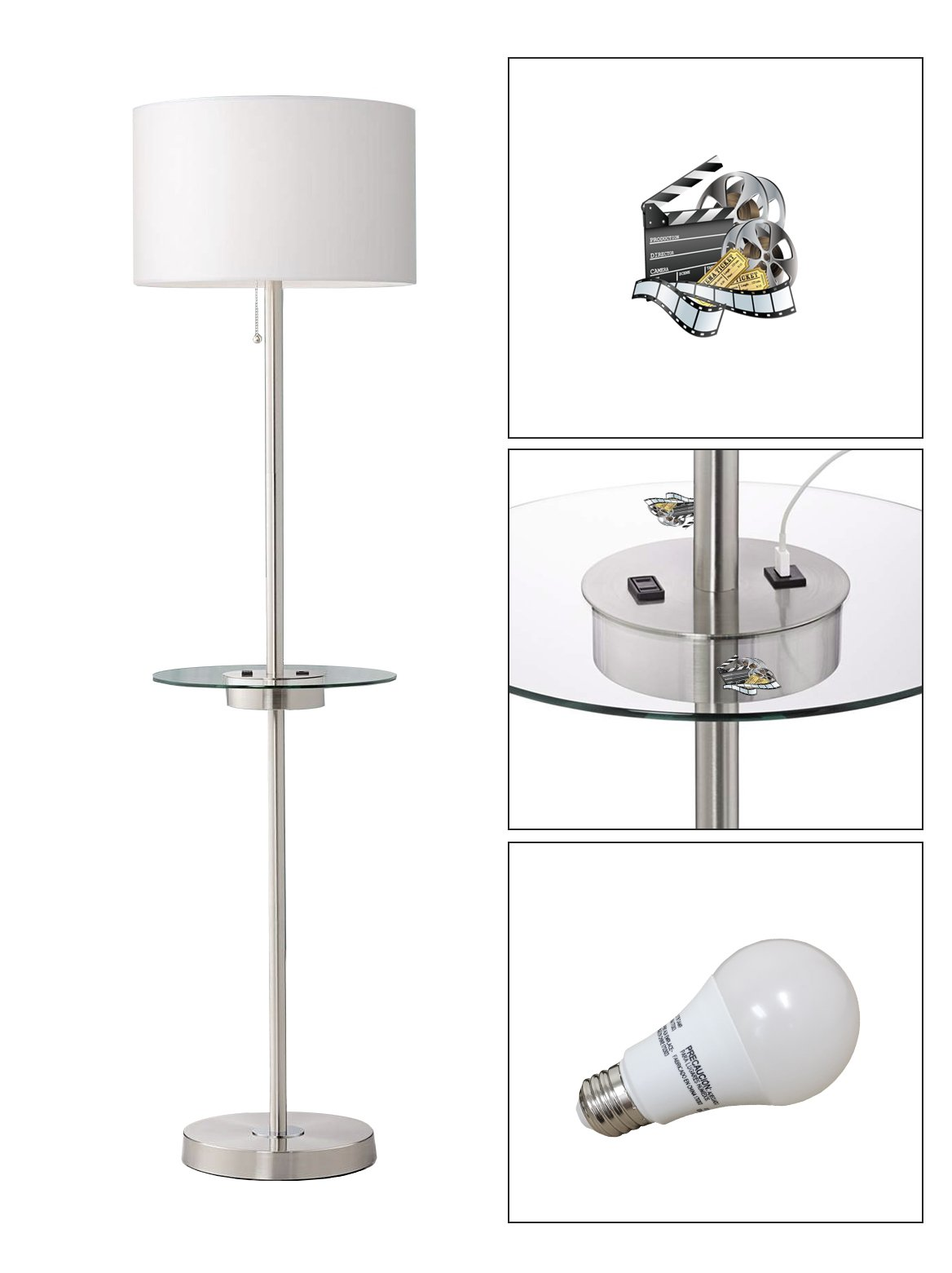 Satin Steel Floor Lamp with Table, USB, Electrical Outlet Featuring Your Favorite Novelty Themed Logo - FREE LED BULB INCLUDED (Movie Reel)