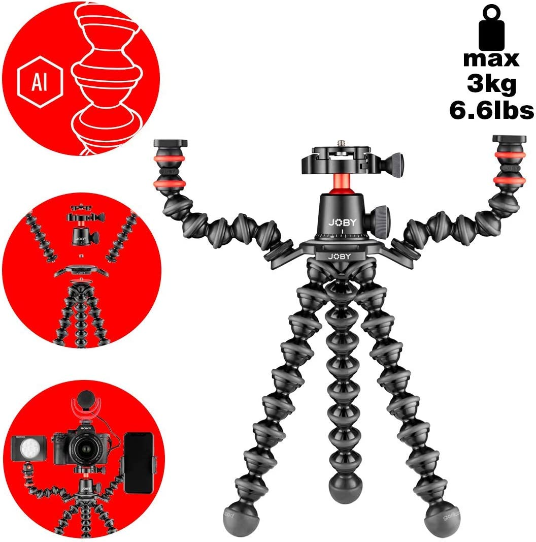 Black//Charcoal//Red 6.Lb Load Capacity Includes Stand BallHead with QR Plate /& 2 Arms Joby Gorillapod 3K Pro Rig