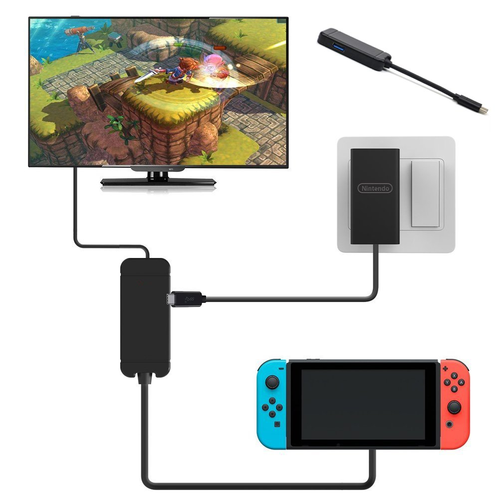 Xuewen HDMI Type C Hub Adapter for Nintendo Switch, HDMI Converter Dock Cable for Switch, Macbook, mobile phone,1080P TV HDMI Converter Cable for Nintendo Switch (Black) …
