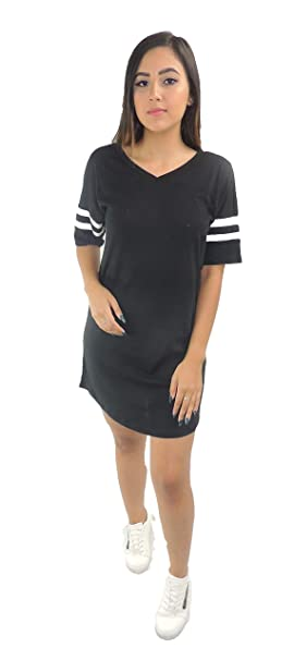 Ambiance Two Tone Striped Short Sleeve Banded V-Neck Mini Dress at Amazon Womens Clothing store: