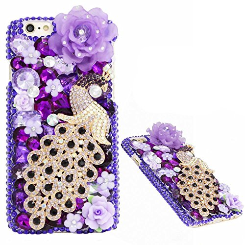 Iphone 7 Plus 5.5inch Bling Purple Gems Smartphone Cover,Yaheeda Flower Peacock Design 3D Handmade Rhinetstone Phone Case