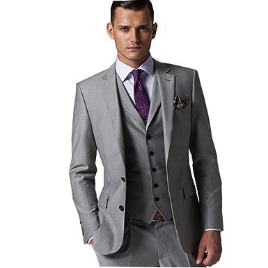 Rey Aires Mens Classic 3 Piece Grey Suit Slim Fit Two Button