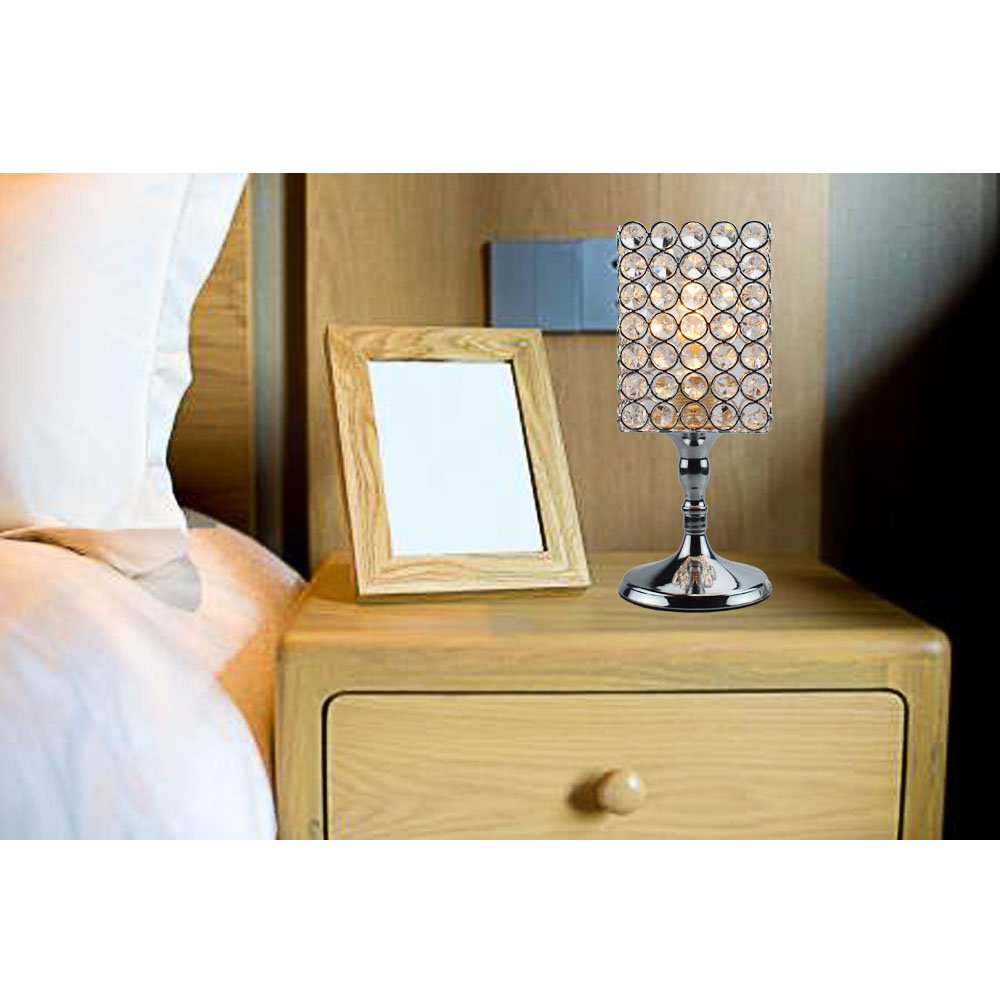 Living Room Dining Room Coffee Table Bookcase Floodoor Elegant Table Lamp Crystal Square Decorative Night Light Desk lamp Bedside Modern Table Light with Silver Crystal Shade for Bedroom
