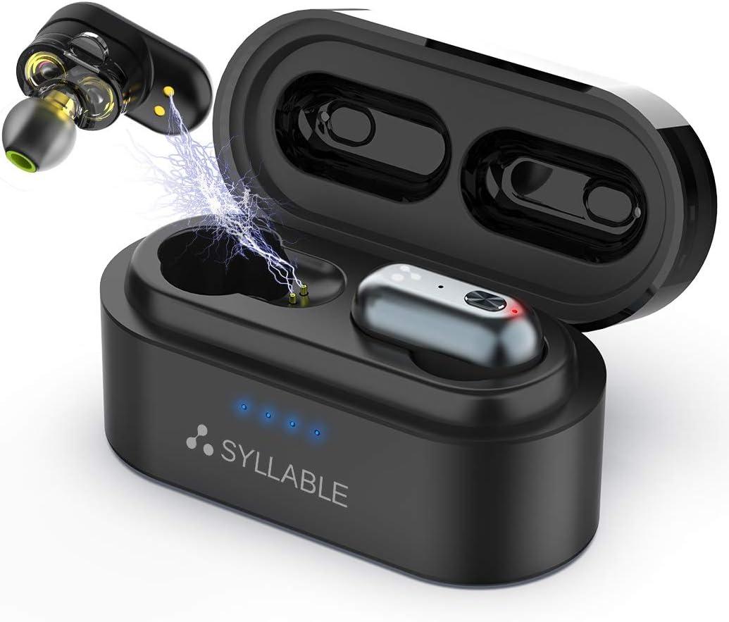Auriculares Bluetooth, Syllable S101 Auriculares Inalámbricos Bluetooth 5.0 Estéreo In-Ear Cascos Mini Twins 4 Ponentes Carga Rápida IPX6 Impermeable con Caja de Carga Portátil para iPhone y Android