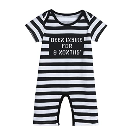 webla Infant bebé niños niñas diseño de rayas Pelele de impresión Mono negro negro Talla:
