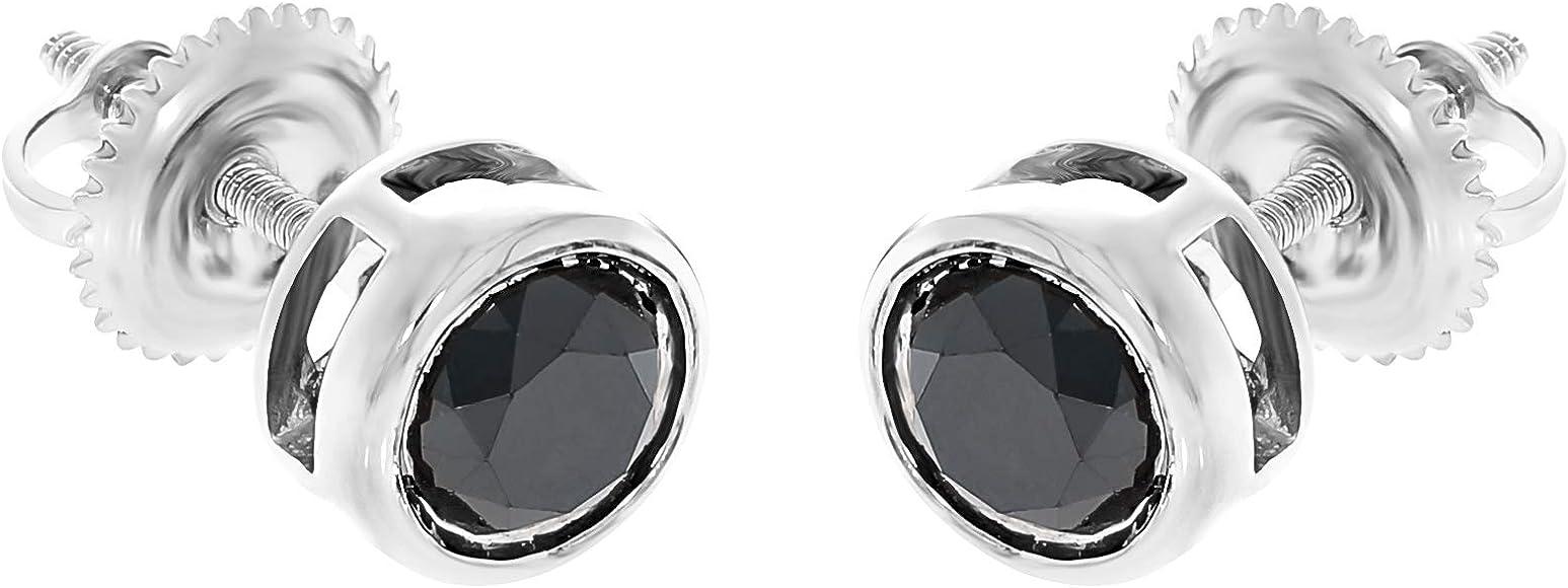 Prism Jewel 0.25 Carat Round Brilliant Cut Bezel Set Black Diamond Solitaire Pendant 14k Yellow Gold