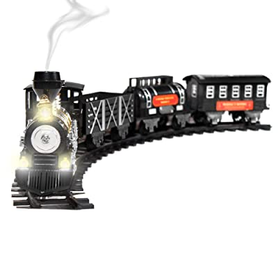 Classic Train Set For Kids With Real Smoke, Music, and Lights Battery Operated Railway Car Set: Toys & Games