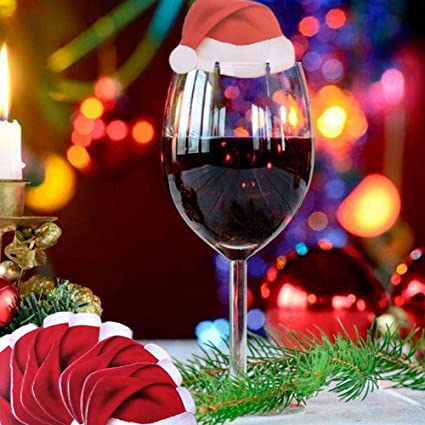 christmas glass decorationschristmas santa hat wine glass decorationtable place cards30pcs