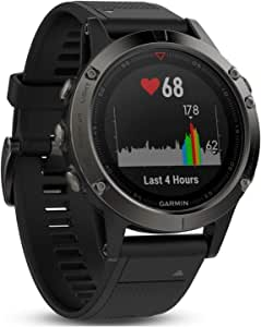 Garmin fēnix 5, Premium and Rugged Multisport GPS Smartwatch, Slate Gray/Black Band, 47 MM