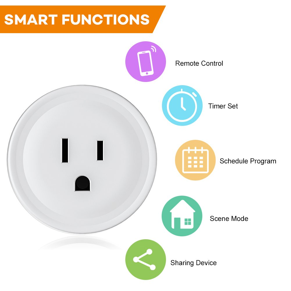 WiFi Smart Plug Mini Outlet, Works with Amazon Alexa Echo, Google Assistant, Support IFTTT (White) (1 Pack) by EECOO (Image #3)