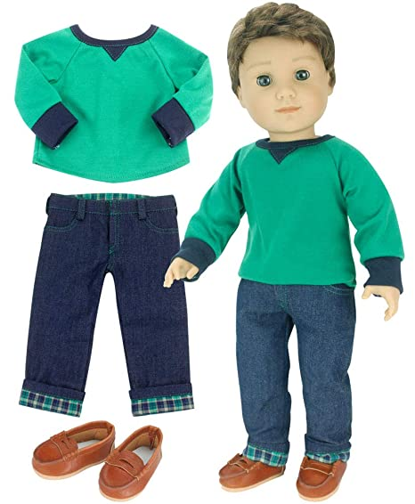 9f1237e7a933 Sophia's 18 Inch Boy Doll Outfit Only 3 Pc. Green Shirt, Brown Penny Loafers