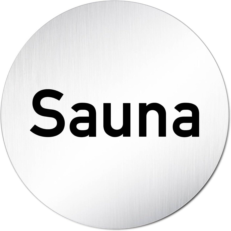 Rund 100mm /Ø T/ürschild Hinweisschild Sauna Aluminium eloxiert
