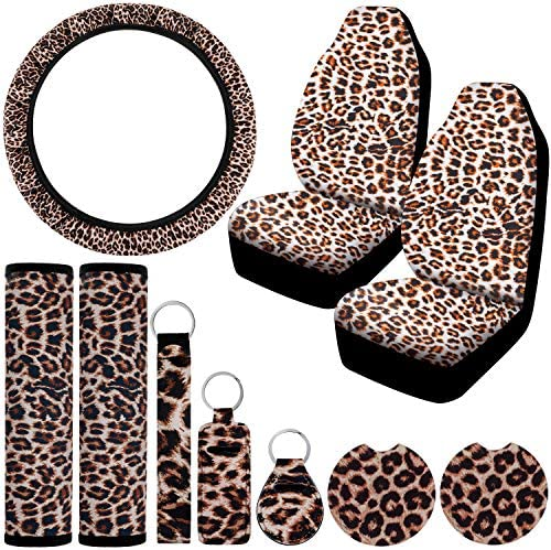 Leopard Car Seat Covers Full Set, Universal Car Front Seat Covers, Leopard Car Steering Wheel Cover, Seat Belt Pads, Car Coaster Cup Holder, Different Key Rings, Fit Most Cars