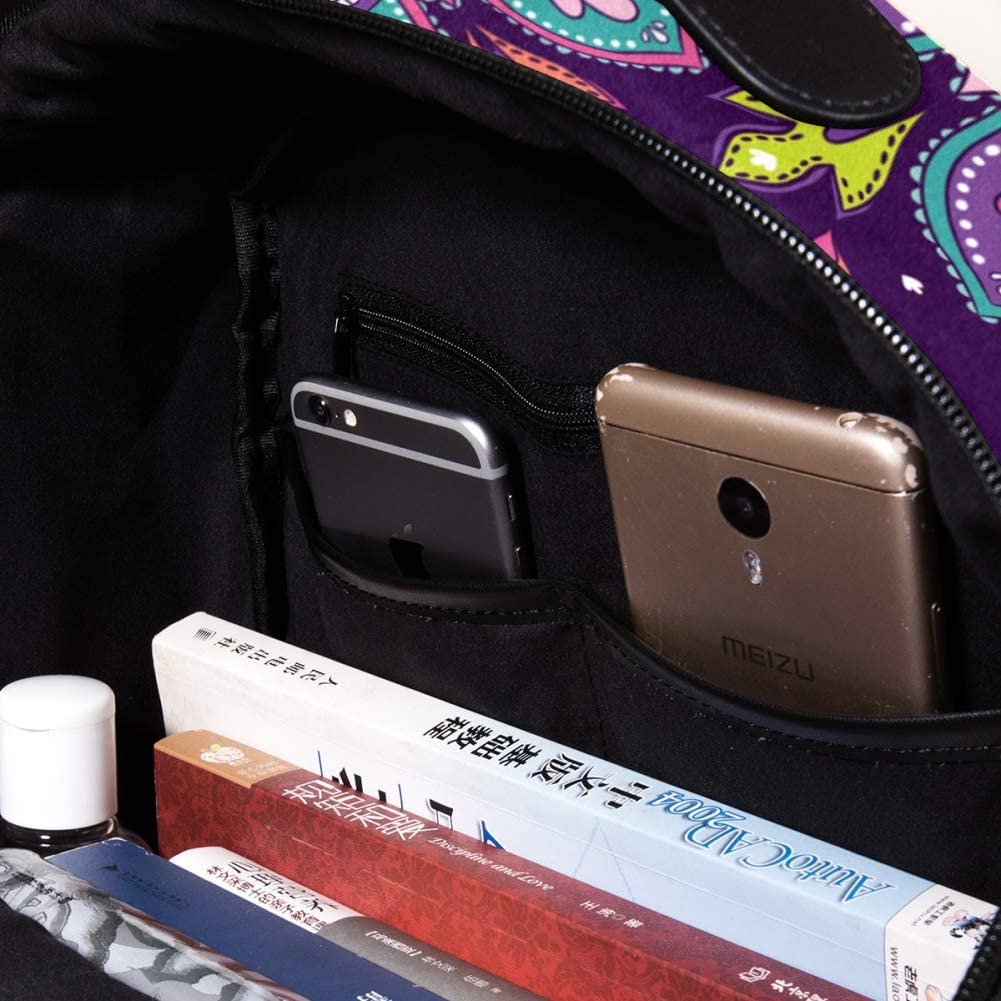 Purple Mandala Pattern School Backpack,Students Shoulder Bag Travel Casual Daypack for Man/&Woman