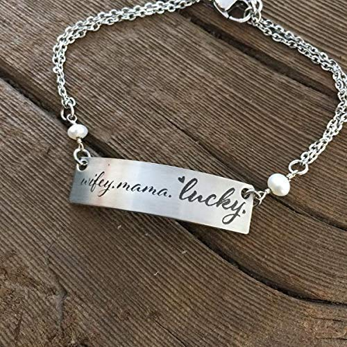 Wifey. Mama. Lucky Bracelet Wife Life For Wife From Husband Love WifeyAccessory Jewlery Christmas Gift Birthday Gift Dainty Cute Gift