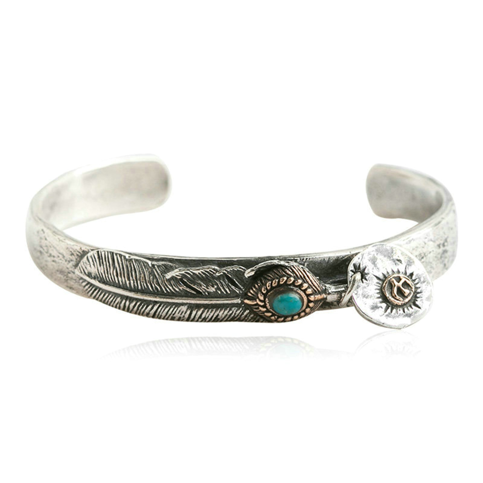 Daesar 925 Silver Bracelet For Men Feathers Opening Bracelet Silver