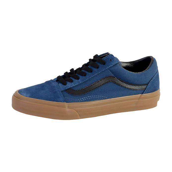 Vans Old Skool Sneaker Damen Herren Kinder Unisex Dunkelblau mit schwarzen Streifen (Dark Denim/Gum)