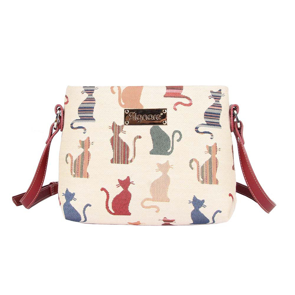 Cheeky Cat Ladies Fashion Canvas Tapestry Mini Satchel Cross-body Purse Bag with Adjustable Strap also as Small Shoulder Bag by Signare (XB02-CHEKY)