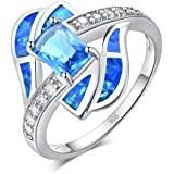 CiNily Silver Blue Fire Opal Aquamarine for Women Jewelry Gemstone Ring Size 5-12