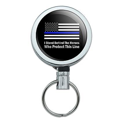 Thin Blue Line American Flag Retractable Belt Clip Badge Key Holder