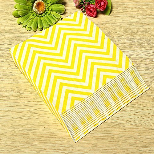 BoatShop 25 PCS Colored Wave Pattern Paper Napkins 2 Layers Party Banquet, Yellow by BSK