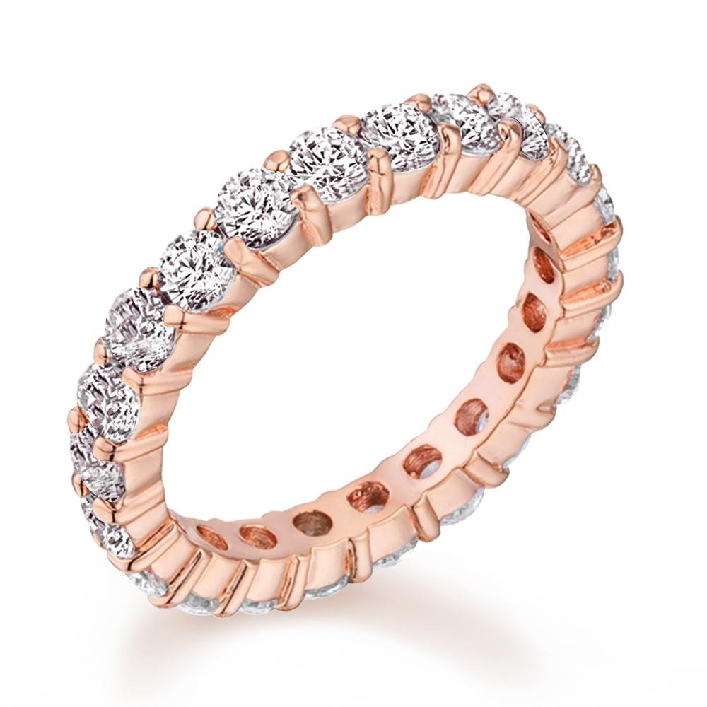 Samie Collection 2.42ctw CZ Eternity Wedding Band Rings in 18K Rose Gold, Rhodium Plating, 3mm