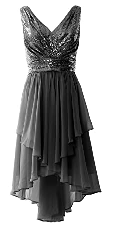 MACloth Women Straps V Neck Sequin Chiffon High Low Prom Dress Formal Party  Gown (2